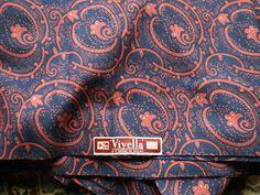 Vintage 1950s Viyella Dress Making Fabric Navy & Pink Abstract Paisley Pattern | eBay