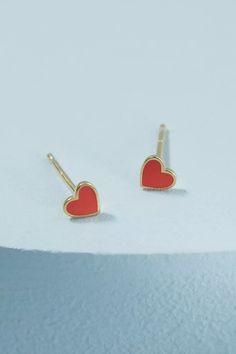 Heart Huggie Earrings   Anthropologie UK Ruby Jewelry, Heart Jewelry, Jewelry Gifts, Anthropologie Christmas, Anthropologie Uk, Ruby Bracelet, Ruby Earrings, Birthstone Necklace, July Birthstone