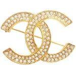 Authentic Vintage Chanel CC Rhinestone Gold Brooch
