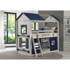 Donco Kids Grey and Blue Twin over Twin Star Gaze Bunk Bed with Blue Tent (Assembly Required - Bunk Bed - Painted), Gray Bunk Bed Tent, Twin Bunk Beds, Kids Bunk Beds, Twin Twin, Cool Beds For Boys, Kids Bedroom, Bedroom Decor, Master Bedroom, Modern Bunk Beds