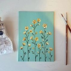 Sweet and simple daisy painting on canvas board. Background is a light seafoam green. This painting can lean onto something, or can fit into a deeper frame, no hanging mechanism comes on the back. Small Canvas Paintings, Easy Canvas Art, Flower Painting Canvas, Small Canvas Art, Mini Canvas Art, Diy Canvas, Canvas Board, Acylic Painting Ideas, Daisy Painting