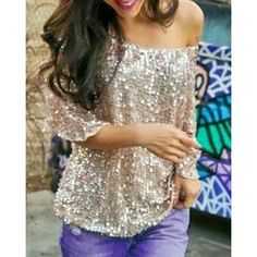 Stylish Jewel Neck Half Sleeve Sequined Loose T-Shirt For Women #CLICK! #clothing, #shoes, #jewelry, #women, #men