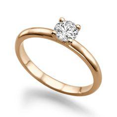 Diamant Ring Solitär 0.25 Karat (VS2/F) in 585er Rosegold