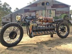 After big Ned Mark Walker built this two stroke with cylinders off victa lawn mowers on his own crankshaft with supercharged crank pressurisation.for the hell of it Vintage Indian Motorcycles, Antique Motorcycles, American Motorcycles, Triumph Motorcycles, Vintage Bikes, Scrambler Motorcycle, Moto Bike, Motorcycle Posters, Motorcycle Engine