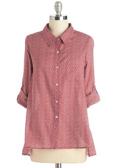 Splendid Idea Top in Cherry. Bring cheer to all those around you in this feminine button up. #red #modcloth
