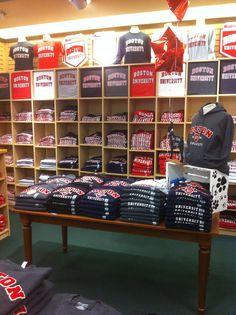 Boston University Bookstore shirt wall