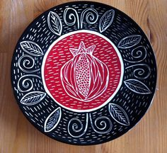pomegranate, sgraffito design plate