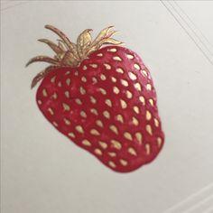 Stahlstich Karte mit Erdbeere Rsvp, Strawberry, Fruit, Food, Strawberries, Cards, Essen, Strawberry Fruit, Meals