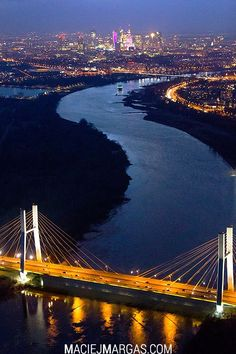 Warsaw, Poland at Night