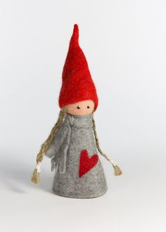 FELTED ELF GIRL WITH RED HEART DRESS