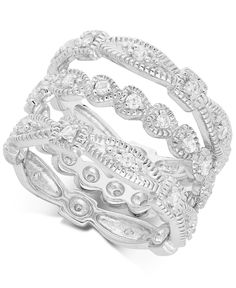 B. Brilliant Cubic Zirconia Stackable Rings in Sterling Silver