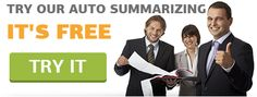 http://www.autosummarize.net/ Auto Summarize When you need to autosummarize a document and don't know how to do it, then it is best to come to the experts at AutoSummary.net. autosummarize.net offers autosummarize, autosummarize online, auto summarize, auto summarize online and online auto summarize services.  Feel free to contact here to get our great services.