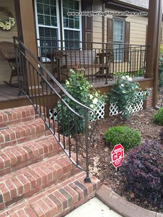 Entrance Iron Railings Raleigh NC Source by Porch Step Railing, Wrought Iron Porch Railings, Porch Handrails, Exterior Stair Railing, Porch Railing Designs, Outdoor Stair Railing, Outside Stairs, Front Porch Railings, Brick Porch