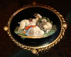 Brooch - Micromosaic picture of woman milking goat...