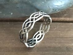 Sterling Silver Celtic Twisted Ring, Promise Ring, Anniversary Plain Silver Wedding Band