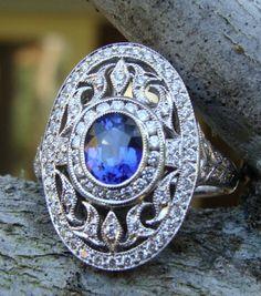 Trendy Diamond Rings : Sapphire, diamond and white gold Art Deco ring. - Buy Me Diamond Bijoux Art Deco, Art Deco Jewelry, Fine Jewelry, Jewelry Design, Jewelry Making, Jewellery, Sapphire Jewelry, Diamond Jewelry, Sapphire Diamond