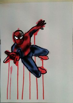 Spiderman Swing. Acrylic on Cartridge Paper with Digital on top by Chelsie Cater-Tooby