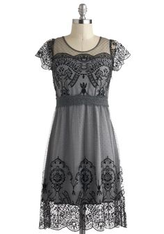 Grace Gardens Dress in Slate Grey - Sheer, Mid-length, Grey, Black, Lace, Scallops, Party, A-line, Short Sleeves, Film Noir, Vintage Inspired, 20s, 30s