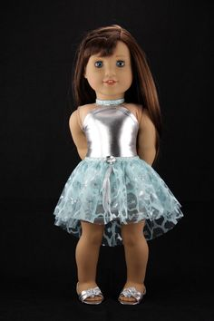 American Girl doll clothes - Halter dress with high low tutu skirt (fits