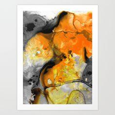 Orange Abstract Art - Light Walk - By Sharon Cummings Art Print by Sharon Cummings