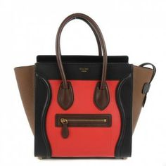 Céline | Celine Smooth And Elephant Calfskin Micro Luggage Bright Red S22