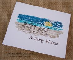 """By Ingrid Blackburn. Uses Stampin' Up """"Wetlands"""" stamp set and spritzed ink on an acrylic block for background."""