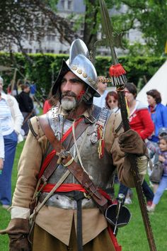 LLL idea for straps/carrying weapons and red tried across chest! Wearing gloves.... Thirty Years War Officer of pikemen