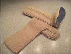 Knitted slipper sock. Great pattern to make your own UGG type slippers. These are great for cold floors in house in winter. Add your own pattern to make them look like afgan slippers.