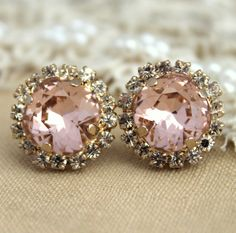 Blush pink  Rhinestone stus earrings Powder stud, French Pink earrings - 14k 1 micron Thick plated gold or Silver light pink swarovski Studs by iloniti on Etsy https://www.etsy.com/listing/128899564/blush-pink-rhinestone-stus-earrings