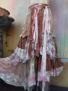 20%OFF RESERVEDwedding skirt,tattered skirt, mori girl, stevie nicks, bohemian skirt, gypsy skirt, lagenlook skirt, bellydance, wrap skirt..