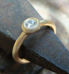 Diamond Engagement Ring - Gold Engagement Ring - 18k Yellow Gold and Diamond Engagement Solitaire Ring. $1,450.00, via Etsy.