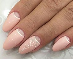 Nude Color Nail Art  Half Moon Manicure