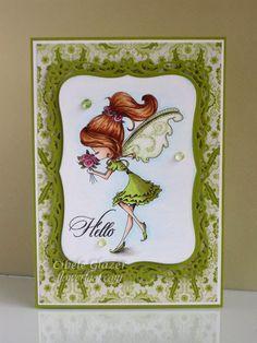 Skin - E000, E00, E11, E21, E04, R20; Hair - E1, E33, E35, E37, E39; Dress - YG03, YG93, YG95, YG97;  Wings - YG11, YG91, 0; Flowers - R81, R83, R85 Flower Foot Designs: Tiddly Inks