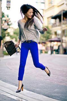 jumping blue pants