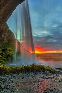 Inside Seljalandsfoss Falls, Iceland