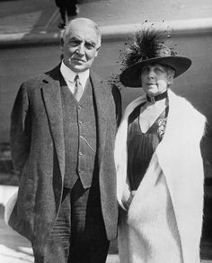 President Warren Harding And His Wife, First Lady Florence Harding.