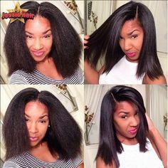 79.10$  Buy now - http://ali9s8.worldwells.pw/go.php?t=32647021740 - Italian Yaki Glueless Full Lace Human Hair Wigs For Black Women Brazilian Virgin Hair Kinky Straight Lace Front Human Hair Wigs