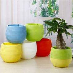 5pcs/lot Gardening Mini Plastic Flower Pots Vase Square Flower Bonsai Planter Nursery Pots /Flower Pots Planters/Garden Pots #Affiliate