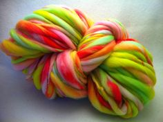 Thick and Thin Faux Cashmere Yarn 3oz Neon Spring by Fibertastic, $28.50