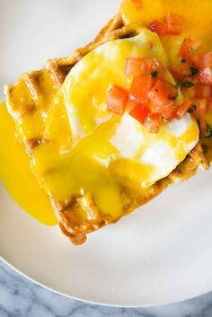 Waffles with eggs and cheese! Looks delicious!