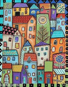City Digs 11x14 Houses ORIGINAL Cityscape ABSTRACT PAINTING FOLK ART Karla G