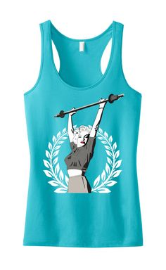 Marilyn Monroe Lifting Workout Tank Top Teal, Workout Clothes, Marilyn Monroe, Workout Shirt, Gym Tank, Gym Clothing, Crossfit