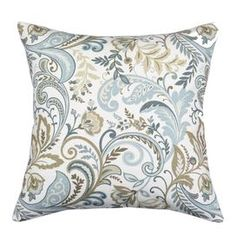 """Linen-blend pillow with multicolor floral motif.   Product: PillowConstruction Material: 55% Linen and 45% rayon coverColor: Seaglass and multiFeatures:  Insert includedZipper closure Corded edge  Dimensions: 17"""" x 17""""Cleaning and Care: Spot clean"""