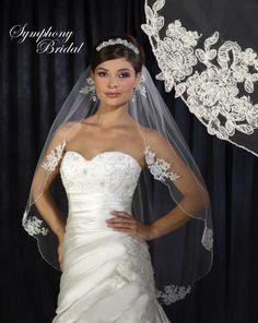 Lace Motif Fingertip Wedding Veil 6310VL by Symphony Bridal  - Affordable Elegance Bridal -
