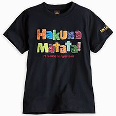 Disney The Lion King: The Broadway Musical Tee for Kids - ''Hakuna Matata'' | Disney StoreThe Lion King: The Broadway Musical Tee for Kids - ''Hakuna Matata'' - You'll have no worries while wearing this soft cotton souvenir tee inspired by Broadway's <i>The Lion King</i>. Colorful patchwork appliqu� lettering with embroidered accents will make you roar with applause!
