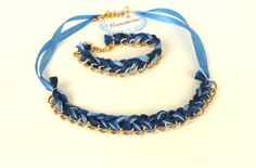 Blue Braided necklace and bracelet