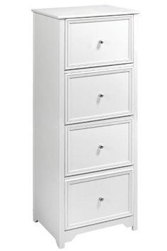 White Wood Filing Cabinet. 4 Drawer ...
