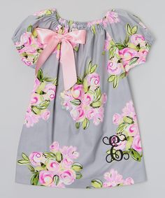 Look what I found on #zulily! Gray & Pink Flower Monogram Bow Top - Infant, Toddler & Girls by Enchanted Everyday #zulilyfinds