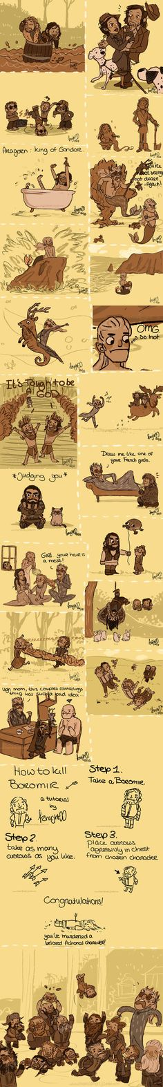 Legolas: WTF dad...! Gimli don't like this (?) this is my first strip of the Hobbit, I love the elves! and, sorry if you read a grammatical error, but, I don't speak english, I try ;A; Thrandu...