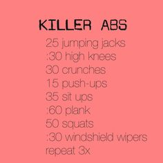 killer abs workout! if i feel a little better later i'm gonna go for a run then do this :)